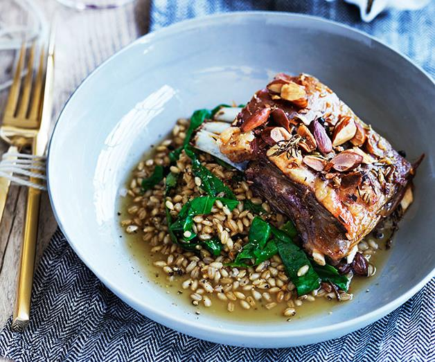 """**[Templo's lamb belly with pearl barley](https://www.gourmettraveller.com.au/recipes/chefs-recipes/templos-lamb-belly-with-pearl-barley-9279
