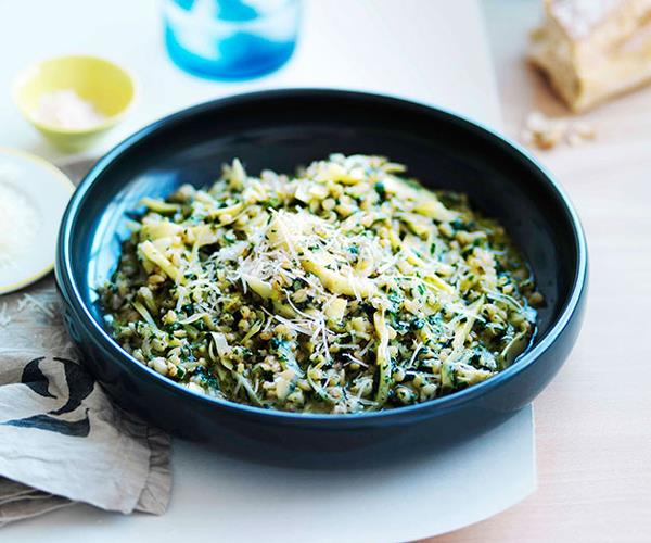 """**[Pearl barley with artichokes, pecorino and nettle butter](https://www.gourmettraveller.com.au/recipes/chefs-recipes/pearl-barley-with-artichokes-pecorino-and-nettle-butter-7523
