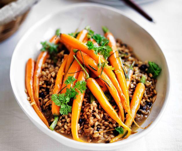 "**[Rosemary-glazed carrots with barley pilaf](https://www.gourmettraveller.com.au/recipes/fast-recipes/rosemary-glazed-carrots-with-barley-pilaf-13305|target=""_blank""|rel=""nofollow"")**"
