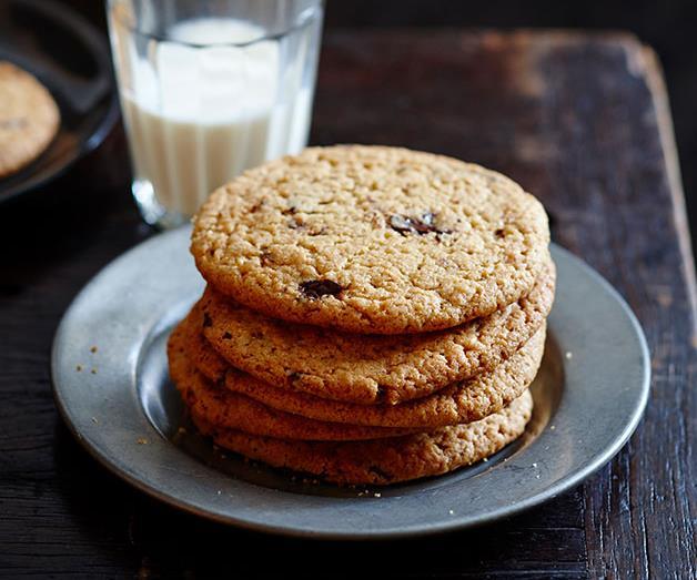 "**[Warm choc-chip peanut butter cookies](https://www.gourmettraveller.com.au/recipes/fast-recipes/warm-choc-chip-peanut-butter-cookies-13498 target=""_blank"" rel=""nofollow"")**"