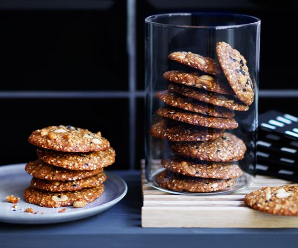 "**[Salted peanut and sesame biscuits](http://www.gourmettraveller.com.au/recipes/browse-all/salted-peanut-and-sesame-biscuits-12499|target=""_blank""
