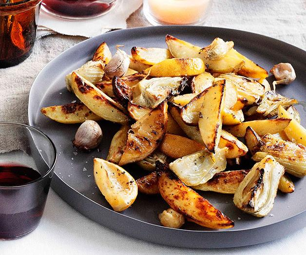"""**[Roast potato and fennel with garlic and lemon](https://www.gourmettraveller.com.au/recipes/browse-all/roast-potato-and-fennel-with-garlic-and-lemon-11477