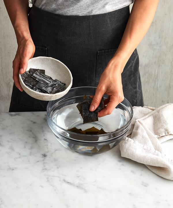 To make kombu dashi, soak the kombu in water overnight.