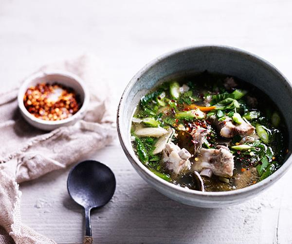 """**[Hot and sour pork rib soup](https://www.gourmettraveller.com.au/recipes/browse-all/hot-and-sour-pork-rib-soup-11996