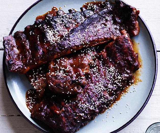 "**[Sticky glazed pork ribs](https://www.gourmettraveller.com.au/recipes/browse-all/sticky-glazed-pork-ribs-12019|target=""_blank"")**"