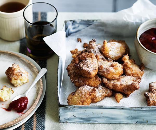 """**[Rice and rum pudding fritters with rhubarb and winter strawberry jam](https://www.gourmettraveller.com.au/recipes/browse-all/rice-pudding-fritters-with-rhubarb-and-winter-strawberry-jam-12557