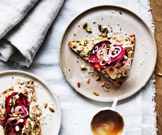 """**[Smoked mackerel smorrebrod with beetroot salad](https://www.gourmettraveller.com.au/recipes/browse-all/smoked-mackerel-smorrebrod-with-beetroot-salad-12766