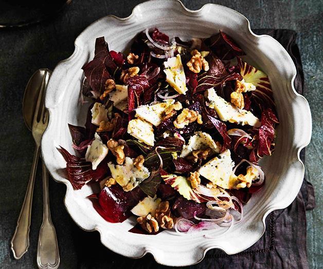 "**[Beetroot, radicchio, Gorgonzola and toasted walnut salad](https://www.gourmettraveller.com.au/recipes/browse-all/beetroot-radicchio-gorgonzola-and-toasted-walnut-salad-11482|target=""_blank""|rel=""nofollow"")**"