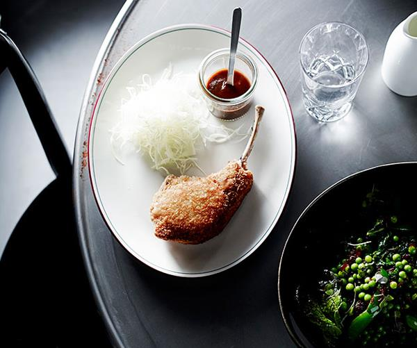 """**[Andrew McConnell's pork chop with bulldog sauce](https://www.gourmettraveller.com.au/recipes/chefs-recipes/pork-chop-with-bulldog-sauce-8033