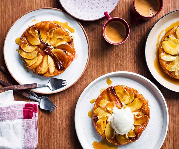 "**[Rhubarb and apple tarte Tatin with Calvados ice-cream](https://www.gourmettraveller.com.au/recipes/browse-all/rhubarb-and-apple-tarte-tatin-with-calvados-ice-cream-13939|target=""_blank""