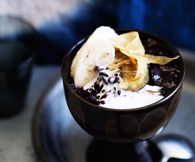 """**[Sticky black rice with coconut cream, ginger syrup and banana](https://www.gourmettraveller.com.au/recipes/browse-all/sticky-black-rice-with-coconut-cream-ginger-syrup-and-banana-11952