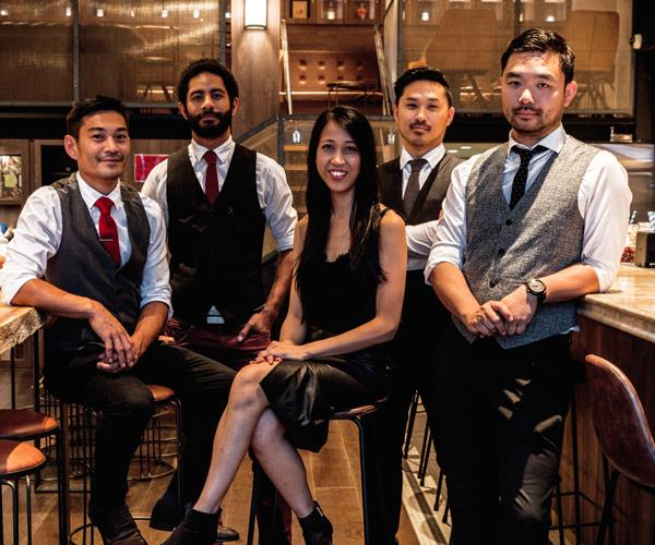 Past and current Bancho staff, from left to right: Yoshi Onishi, co-owner and venue manager; Chad Choulai, now at sister venue Tokyo Bird; Tina Wing Kee, co-owner; Chris Ang, co-owner and group operations manager. and Jason Ang, co-owner.