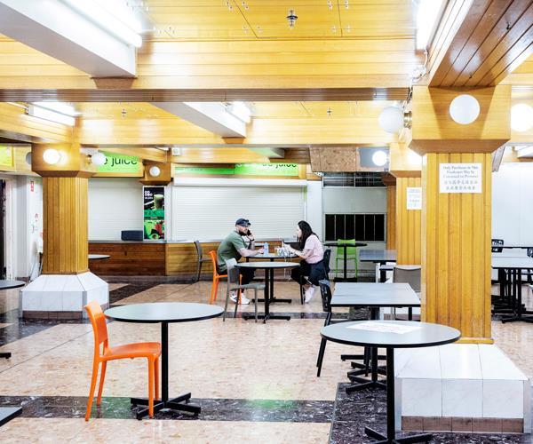 A near empty Dixon Street food court.