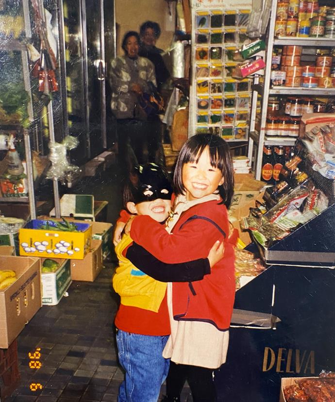 Danny Fu's siblings, Jessica and Vincent, at Season's Fruit Market in 1998. Pictured in the background is their paternal and maternal grandmothers.