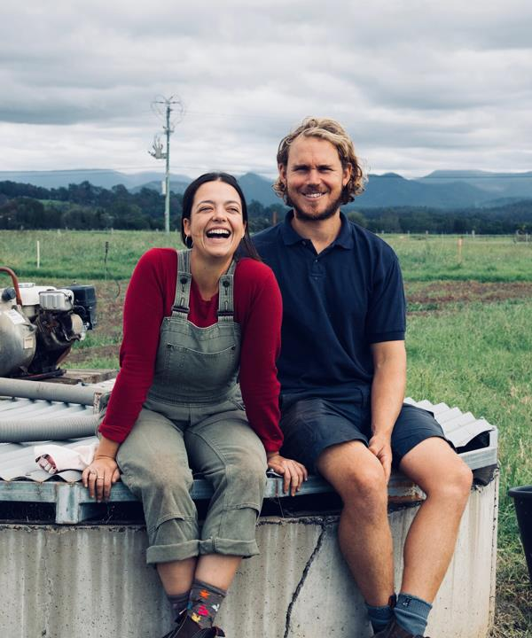 Eliza Cannon and her partner Alex Chiswell. The couple co-founded Borrowed Ground Farm, a small-scale vegetable farm in Moruya, NSW.