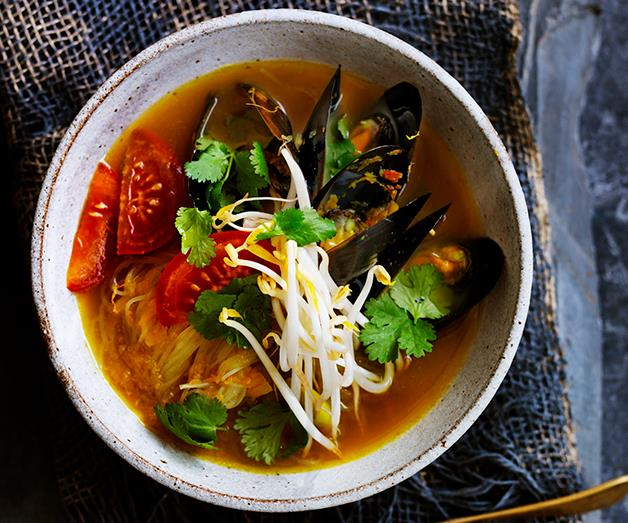 "**[Mussels in fragrant broth with mung bean noodles](https://www.gourmettraveller.com.au/recipes/browse-all/mussels-in-fragrant-broth-with-mung-bean-noodles-12712|target=""_blank"")**"