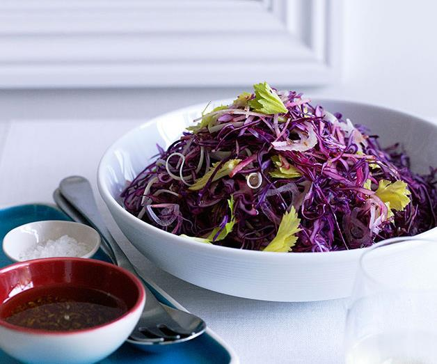 """**[Red cabbage, apple and celery salad](https://www.gourmettraveller.com.au/recipes/browse-all/red-cabbage-apple-and-celery-salad-10257