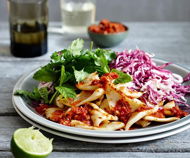 """**[Calamari and pounded sambal with cabbage salad](https://www.gourmettraveller.com.au/recipes/fast-recipes/calamari-and-pounded-sambal-with-cabbage-salad-13463