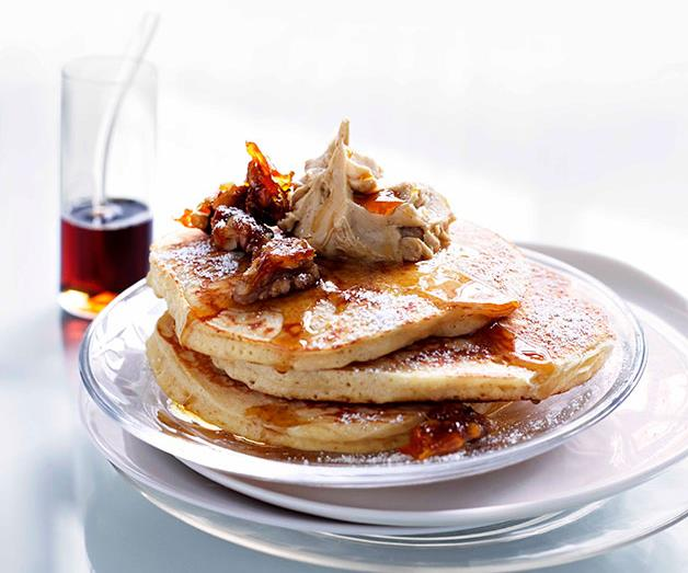 """**[Cinnamon pancakes with whipped maple butter and candied walnuts](https://www.gourmettraveller.com.au/recipes/browse-all/cinnamon-pancakes-with-whipped-maple-butter-and-candied-walnuts-11090