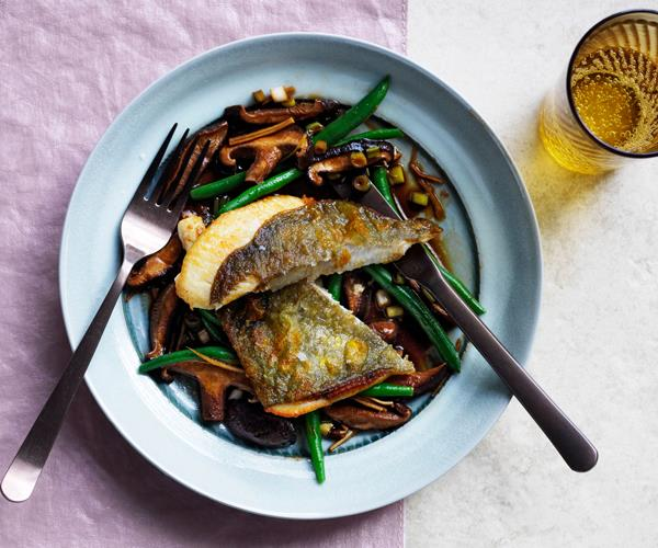 "**[John Dory with shiitake mushrooms and ginger](https://www.gourmettraveller.com.au/recipes/fast-recipes/pan-fried-john-dory-mushrooms-ginger-17145|target=""_blank"")**"