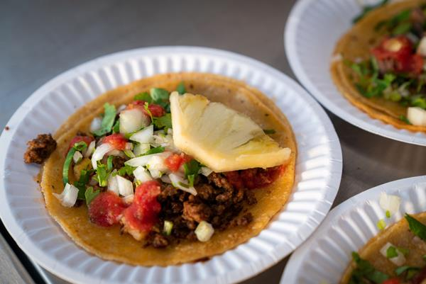 "Ricos Tacos' chorizo ""al pastor"" taco."