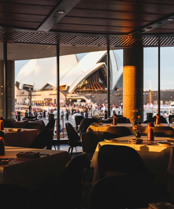 The view of Sydney Opera House from Aria's dining room.