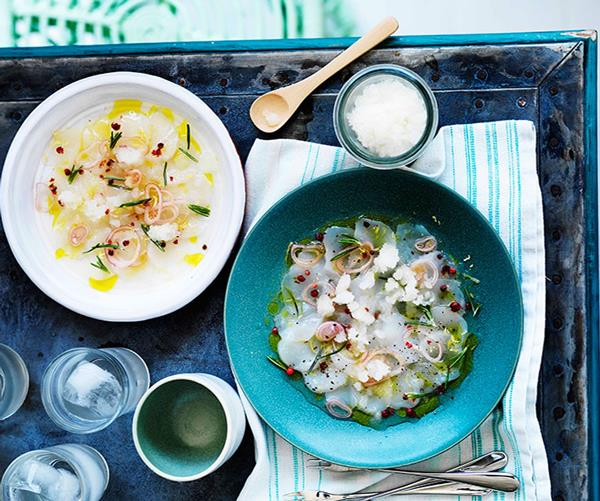 "**[Scallop crudo with lemon and rosemary granita](https://www.gourmettraveller.com.au/recipes/browse-all/scallop-crudo-with-lemon-and-rosemary-granita-11639|target=""_blank"")**"