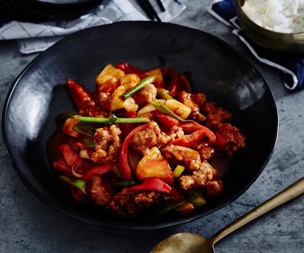 Sweet and sour pork, best served with steamed or fried rice.