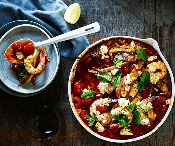 "[**Tomato-baked prawns and feta**](https://www.gourmettraveller.com.au/recipes/fast-recipes/tomato-baked-prawns-and-feta-13482|target=""_blank""|rel=""nofollow"")  *Photo: John Paul Urizar*"