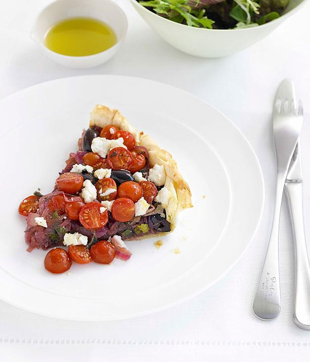 """**[Tomato, olive and onion tart](https://www.gourmettraveller.com.au/recipes/fast-recipes/tomato-olive-and-onion-tart-13048