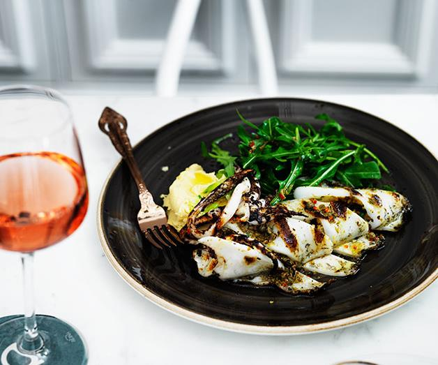 "**[Alpha's calamari with fava, barley rusks, capers and rocket](https://www.gourmettraveller.com.au/recipes/chefs-recipes/calamari-with-fava-barley-rusks-capers-and-rocket-7914|target=""_blank"")**"