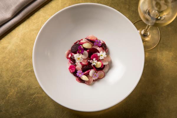Beetroot and radish salad, feta, rose hip, green almonds.