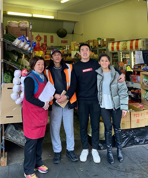 Irene and Chi Ching Fu, son Danny Fu and Danny's partner Jen Ng outside Season's Fruit Market.