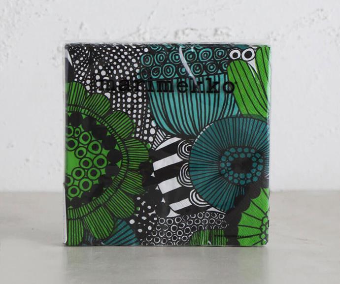 "[Marimekko Siirtolapuutarha Paper Napkins](https://livingbydesign.net.au/products/marimekko-siirtolapuutarha-paper-napkins-green-black-white|target=""_blank""|rel=""nofollow""), $11.99"