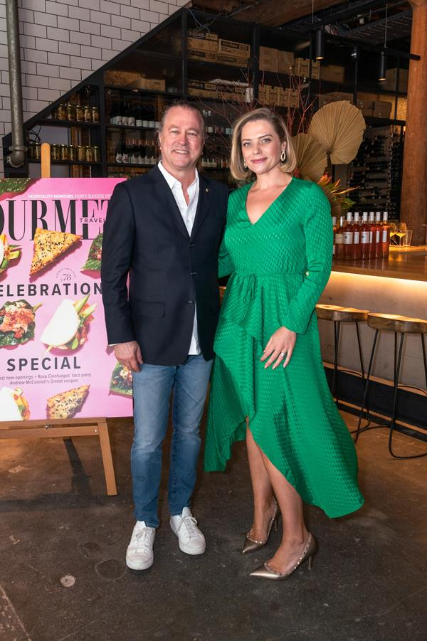 Hope Delivery's Neil Perry with *Gourmet Traveller* editor Joanna Hunkin.