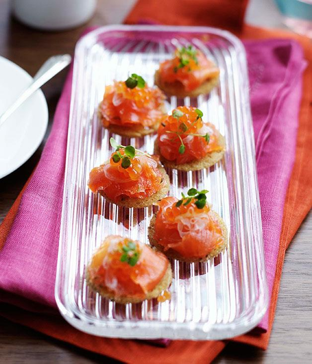 """**[Whisky-cured ocean trout on rye crispbread](https://www.gourmettraveller.com.au/recipes/browse-all/whisky-cured-ocean-trout-on-rye-crispbread-10037