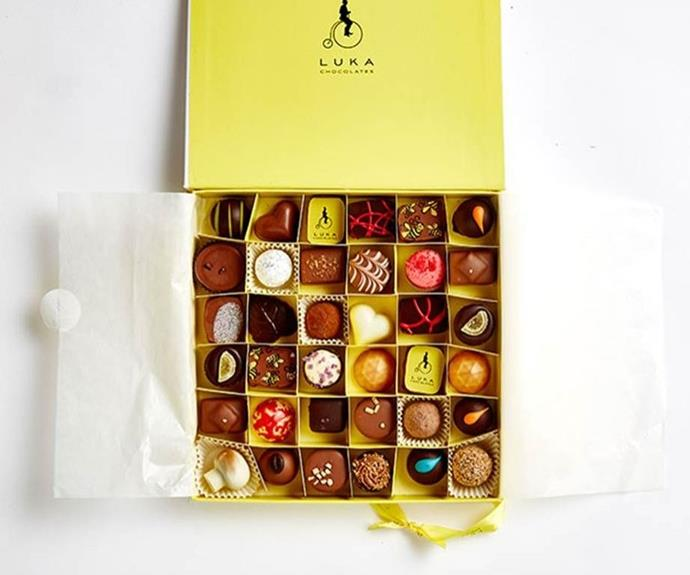 "**Luka Chocolates artisan box of chocolates, 36 pieces, $75, [lukachocolates.com.au](https://lukachocolates.com.au/collections/gift-boxes/products/36-pieces-gift-box|target=""_blank""