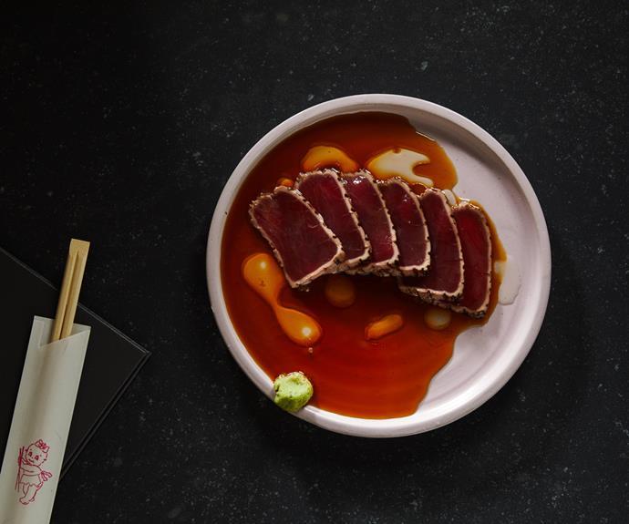 Tuna tataki, wasabi, ponzu, ginger oil at ShoSho.