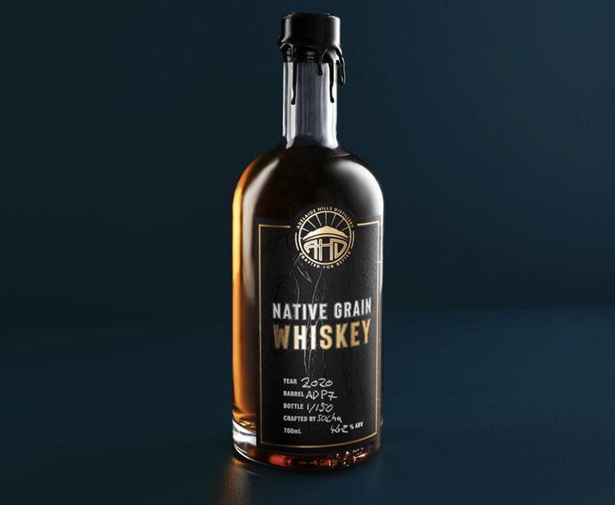 "[Adelaide Hills Distillery Native Gain Whisky](https://www.adelaidehillsdistillery.com.au/shop/native-grain-whiskey|target=""_blank""|rel=""nofollow""), $450"