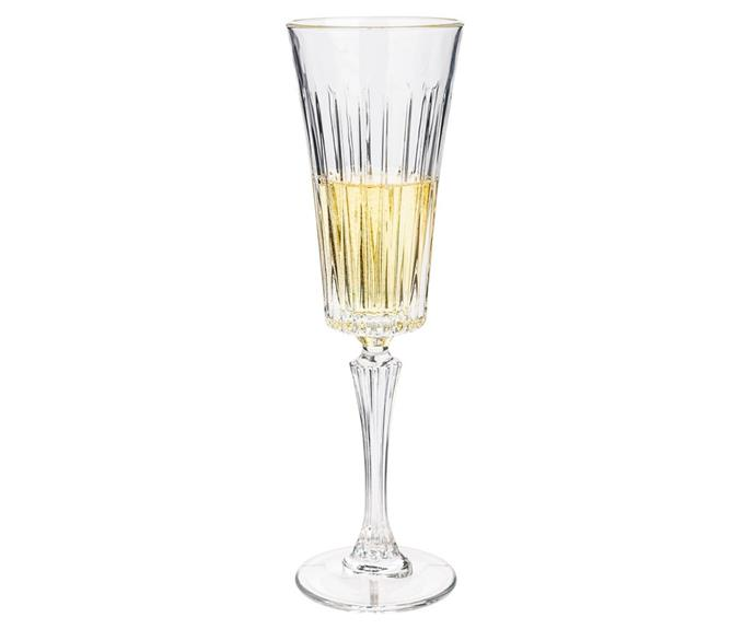 """**Timeless Champagne Flute, set of 6 from RCR Crystal, RRP $100, available from [Peter's of Kensington](https://www.petersofkensington.com.au/Public/RCR-Crystal-Timeless-Champagne-Flute-Set-6pce-210ml.aspx