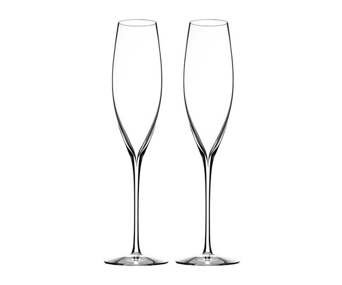 """**Elegance Champagne Classic Flutes, set of 2 from Waterford, $130, available from [Amara](https://www.amara.com/au/products/elegance-champagne-classic-flutes-set-of-2