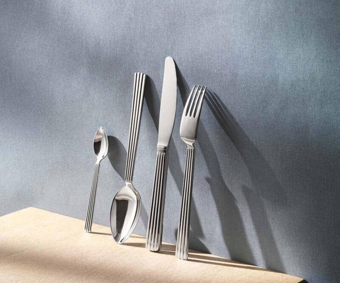 "**Bernadotte 24 piece cutlery set from Georg Jensen, $595, available from [David Jones](https://www.davidjones.com/brand/georg-jensen/dining/cutlery/20591132/Bernadotte-24-Pieces.-Set|target=""_blank""