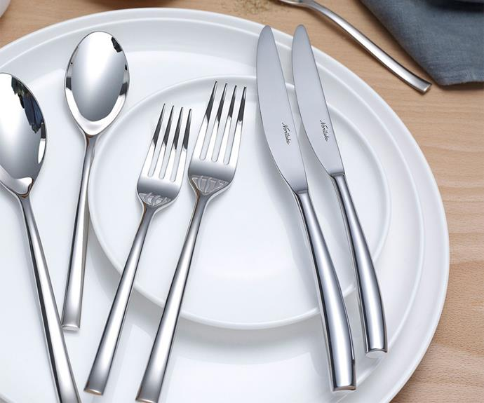 "**Rochefort cutlery set 56pce from Noritake, $447.50, available from [Peter's of Kensington](https://www.petersofkensington.com.au/Public/Noritake-Rochefort-Cutlery-Set-56pce.aspx|target=""_blank""