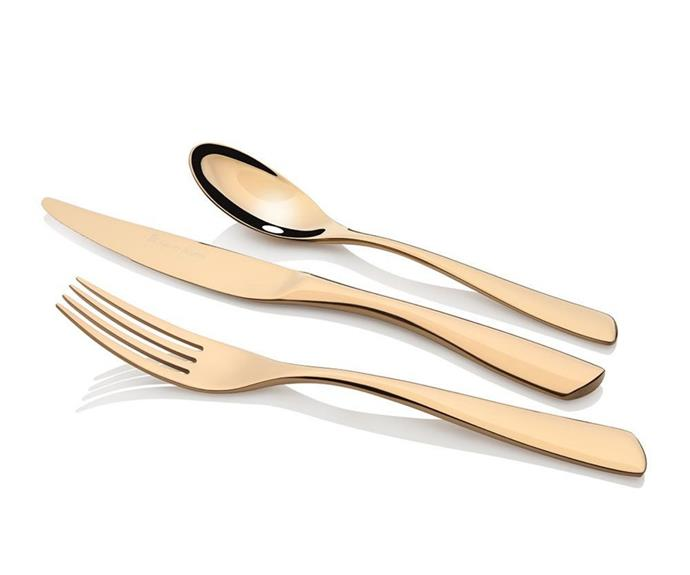 "**Soho gold cutlery set 56pc from Stanley Rogers, $799, available from [catch.com.au](https://www.catch.com.au/product/stanley-rogers-soho-gold-cutlery-set-56pc-6848434/|target=""_blank""