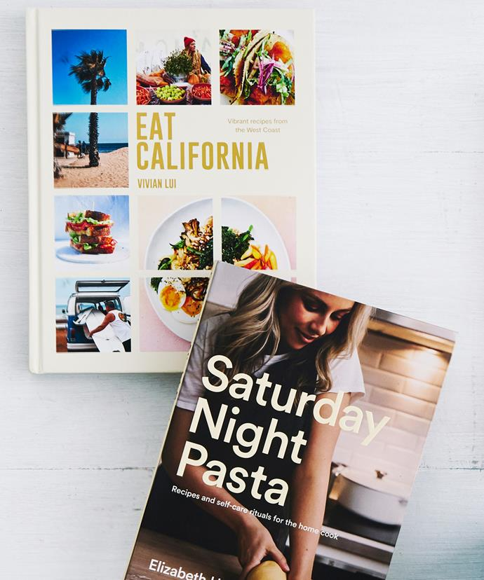 Eat California by Vivian Lui (Smith Street Books, $49.99) and Saturday Night Pasta by Elizabeth Hewson (Pan Macmillan, $36.99)