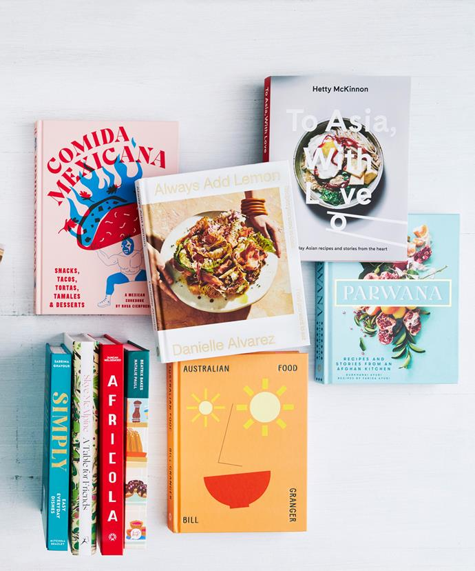 Clockwise from left: Comida Mexicana by Rosa Cienfuegos (Smith Street Books, $45), Always Add Lemon by Danielle Alvarez (Hardie Grant, $50), To Asia, With Love by Hetty McKinnon (Pan Macmillan, $39.99), Parwana by Durkhanai Ayubi (Murdoch Books, $45), Australian Food by Bill Granger (Murdoch Books, $49.99), Beatrix Bakes by Natalie Paull (Hardie Grant, $45), Africola by Duncan Welgemoed (Murdoch Books, $49.99), A Table for Friends by Skye McAlpine (Bloomsbury, $49.99), Simply by Sabrina Ghayour (Hachette, $39.99)