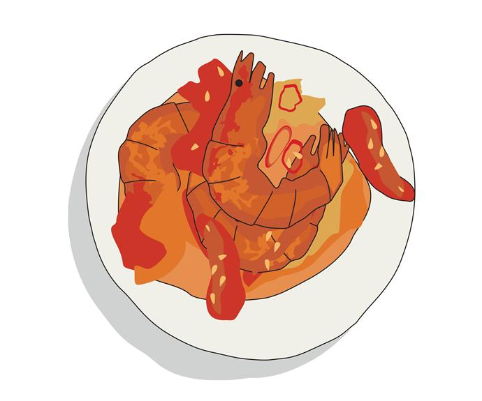Udang balado (hot and spicy prawns) from Ah Beng Kopitiam, Perth