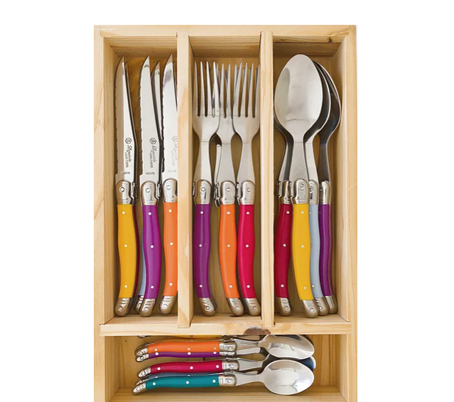 "**Louis Thiers Toujours cutlery set, carnaval, $349, from [Laguiole](https://www.laguiole.com.au/product-page/louis-thiers-toujours-cutlery-set-carnaval-1|target=""_blank""