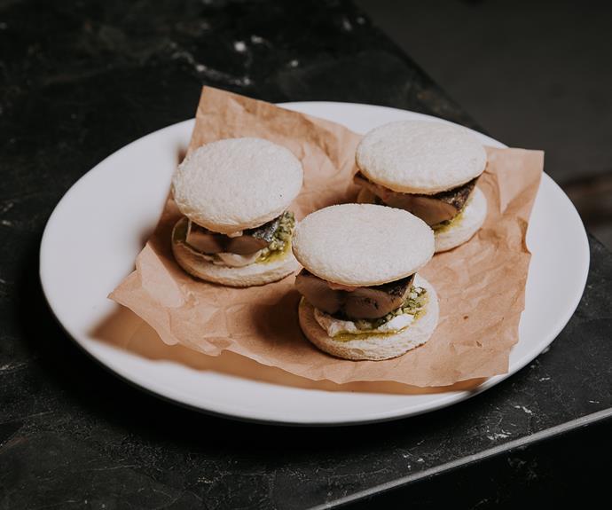 Bonito sandwiches with white 'nduja and strawberry salsa.