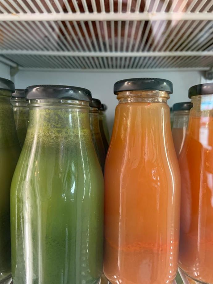 Cold-pressed juices at Hapi In Napier, home of some of the best local produce on the North Island (@hapinz).